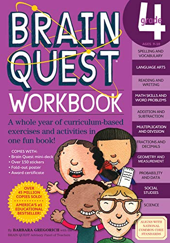 9780761150183: Brain Quest Grade 4 Workbook [With Over 150 Stickers and Mini-Card Deck and Fold-Out