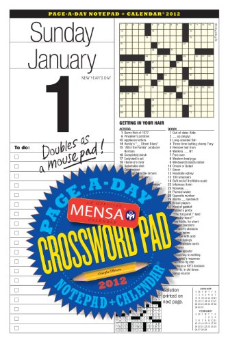 9780761164319: Mensa Crossword Page-a-Day and Notepad 2012 Calendar