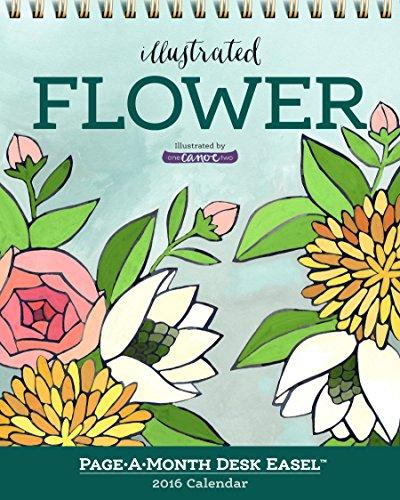 9780761186182: Illustrated Flower Page-A-Month Desk Easel Calendar 2016 (2016 Calendar)