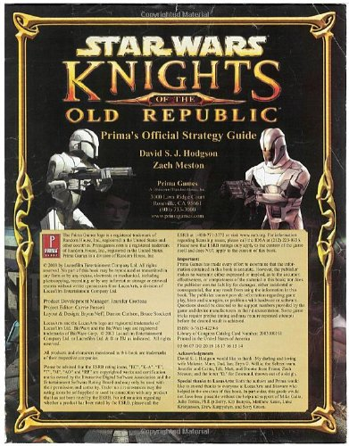 9780761542292: Star Wars: Knights of the Old Republic - Official Strategy Guide (Prima's Official Strategy Guides)