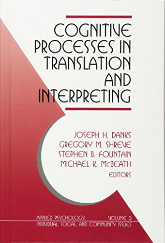 9780761900542: Cognitive Processes in Translation and Interpreting (Applied Psychology: Individual, Social & Community Issues)