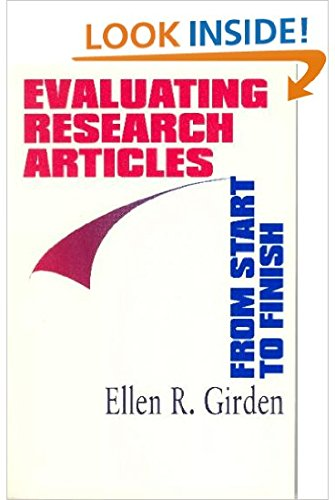 9780761904465: Evaluating Research Articles from Start to Finish