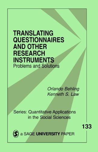 9780761918240: Translating Questionnaires and Other Research Instruments: Problems and Solutions (Quantitative Applications in the Social Sciences)