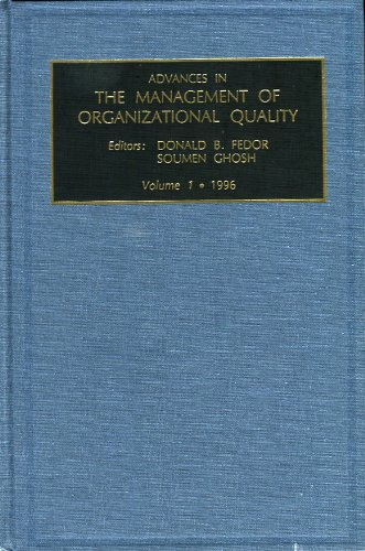 9780762301157: Advances in the Management of Organizational Quality: v. 1