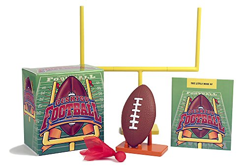 Desktop Football 9780762446179 Getting tackled by an oversized linebacker on the fourth down isn't always fun—but this miniature version of football sure is! Kit contents include: field goal post (assembles in 2 pieces), football, scoring notepad, pencil, penalty flag and 32-page rule book on Finger Football.
