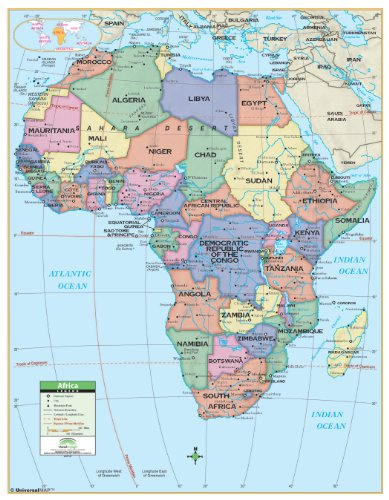 Africa Primary Wall Map Railed X Laminated - Map of the us with latitude and longitude lines