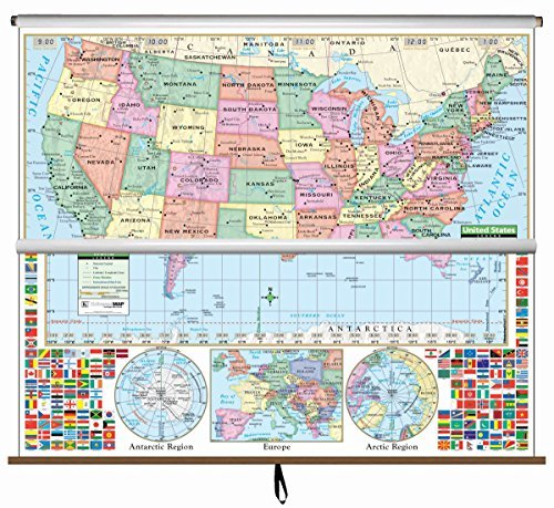 9780762520862: U.S./World Primary Wall Map Combo Roller (Primary Classroom Wall Maps)