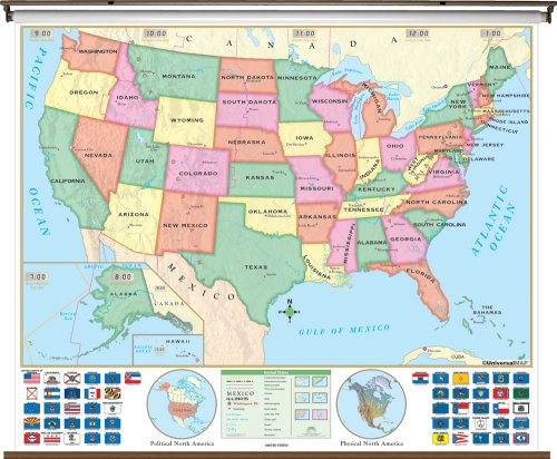 9780762544332: Us Beginner Classroom Wall Map on Roller W/ Backboard