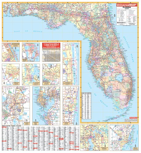 9780762547241: Florida Wall Map - 54x60 - Laminated on Roller