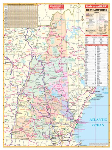 9780762548408: New Hampshire Wall Map - 40x54- Laminated on Roller/Metal Back Board
