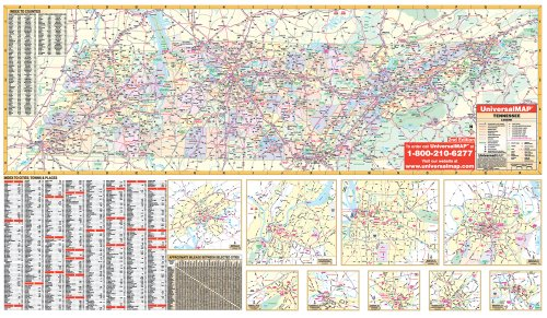 9780762548460: Tennessee State Wall Map - 70x42 - Laminated on Roller