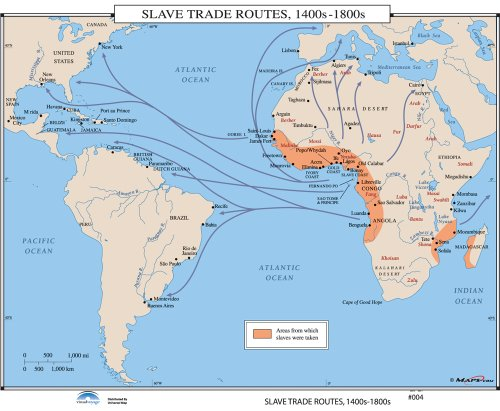 Slave Trade Routes 1400s- 1800s (U.S. History Wall Maps): Kappa Map Group
