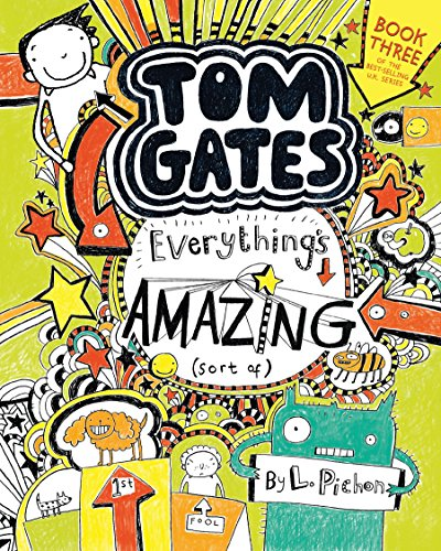 Tom Gates: Everythings Amazing (Sort Of) 9780763690984 Middle-school comedian, homework dodger, rock-star wannabe, master doodler—Tom Gates is back with two more episodes full of visual humor and kid appeal. Things are looking up for Tom Gates. The school dance is coming up, and his birthday, too! What could possibly put him in a bad mood? Well, the words math lesson, for one thing. And that annoying twit Marcus Meldrew at school. And Granny Mavis threatening to bake Tom's birthday cake (carrots!). And the fact that nobody seems to be noticing the long list of birthday presents Tom has prominently displayed. Worst of all, can it be true that Tom's dad has volunteered to deejay the school dance wearing the wacky costume from his new job?