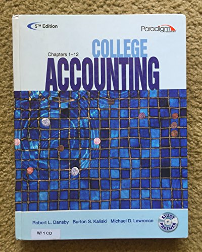 College Accounting (Ch 1-12)(W/CD) 5th: Robert L. Dansby;