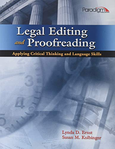 Legal Editing and Proofreading Applying Critical Thinking and Language Skills (Mixed media product)...