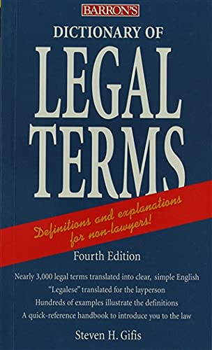 "Dictionary of Legal Terms 9780764139215 Updated to include new terms such as ""civil union"" and to incorporate recent changes in laws and judicial interpretations, this handy dictionary cuts through the complexities of legal jargon and presents definitions and explanations that can be understood by non-lawyers. Approximately 2,500 terms are given with definitions and explanations for the benefit of consumers, business proprietors, legal beneficiaries, investors, property owners, litigants, and all others who have dealings with the law. Terms are arranged alphabetically from Abandonment and Abatable Nuisance, all the way through to Writ, Yellow Dog Contract, and Zoning."