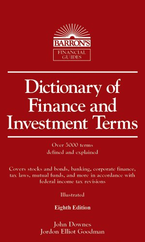 Dictionary of Finance and Investment Terms 9780764143045 More than 5,000 terms related to stocks, bonds, mutual funds, banking, tax laws, and transactions in the various financial markets are presented alphabetically with descriptions. The new eighth edition has been updated to take account of new financial regulations and recent dramatic swings in equities, credit, and other financial resources. Readers will also find a list of financial abbreviations and acronyms, as well as illustrative diagrams and charts. Here's a valuable short-entry dictionary for business students, as well as for office reference and the home bookshelves of private investors.