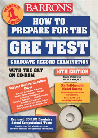 9780764174711: How to prepare for the GRE Test with the cat on CD-ROM 14th édition (Barron's How to Prepare for the Gre Graduate Record Examination)