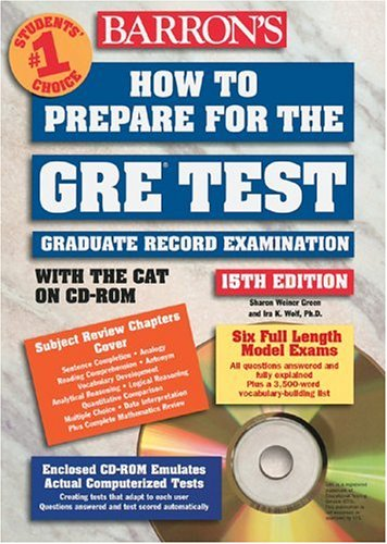 9780764176296: How to Prepare for the GRE Test with CD-ROM (Barron's GRE (W/CD))