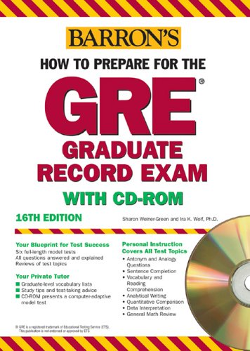 9780764178788: How to Prepare for the GRE with CD-ROM (Barron's How to Prepare for the Gre Graduate Record Examination)(16th Edition)