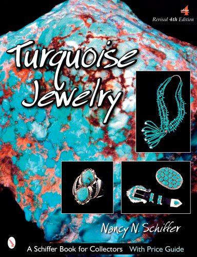 Turquoise Jewelry 9780764328435 This newly revised 4th edition edition displays a wide variety of Southwest Indian-made jewelry which features the many different colors and types of turquoise, depending on their origins. The turquoise mines in Arizona, Colorado, Nevada, and New Mexico are discussed with characteristics of the turquoise found there. Beautiful color photographs show hundreds of examples of Southwest Indian jewelry, dating back over a hundred years and up to the present, with innovative designs. Men's, as well as women's, jewelry is shown to display the many colors and textures of turquoise in belts, bracelets, bolo ties, necklaces, and special pieces of particular beauty. The price guide has been newly revised. *Hundreds of examles of Southwest Indian jewelry are shown *Features turquoise mines in Arizona, Colorado, Nevada, and New Mexico *Newlry revised prices