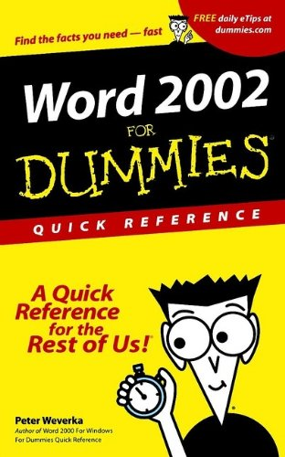 9780764508240: Word 2002 For Dummies Quick Reference