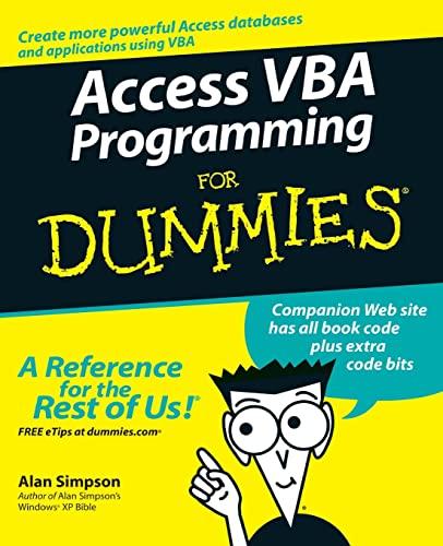 9780764574115: Access VBA Programming For Dummies