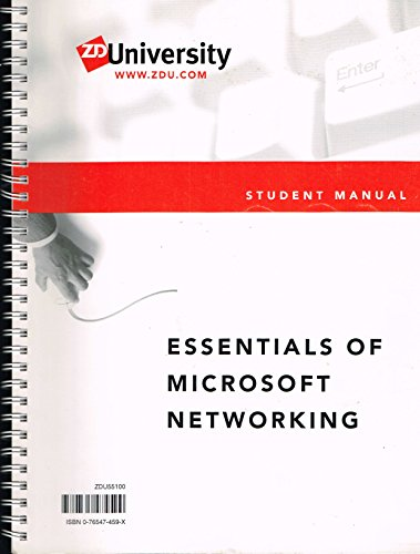 ESSENTIALS OF MICROSOFT NETWORKING STUDENT MANUAL: n/a