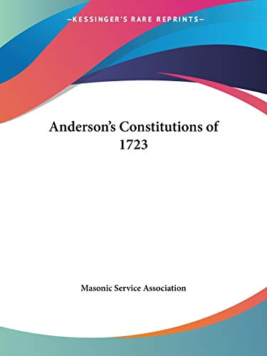 9780766100732: Anderson's Constitutions of 1723
