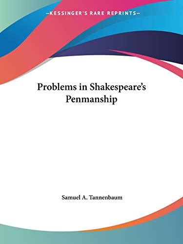 9780766141124: Problems in Shakespeare's Penmanship