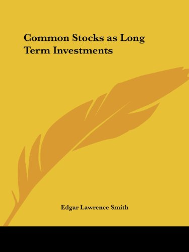 9780766160736: Common Stocks as Long Term Investments (1928)
