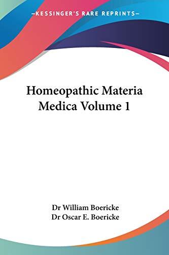 9780766183896: Homeopathic Materia Medica Volume 1
