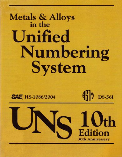 9780768014884: Metals & Alloys in the Unified Numbering System (UNS), 10th Edition