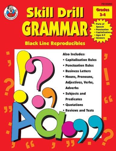 Skill Drill Grammar, Grades 3 to 4 (Black Line Reproducibles): Frank Schaffer