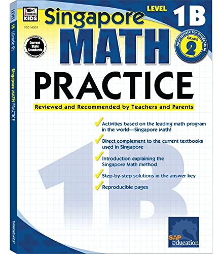 Download Singapore Math – Level 1B Math Practice Workbook for 1st, 2nd Grade, Paperback, Ages 7–8 with Answer Key