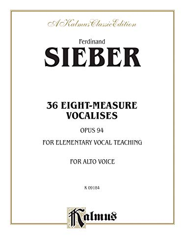 36 Eight-Measure Vocalises for Elementary Teaching: Op. 94 - Alto (Kalmus Edition): Alfred Music