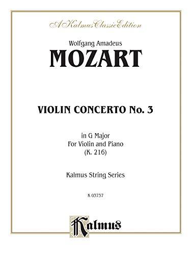 9780769282565: Violin Concerto No. 3 in G Major, K. 216 (Kalmus Edition)