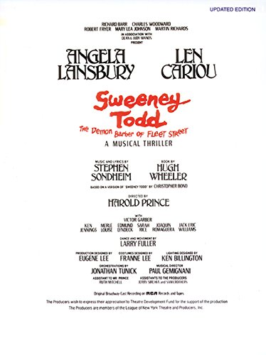 9780769284248: Sweeney Todd (The Demon Barber of Fleet Street) (Vocal Score): Piano/Vocal