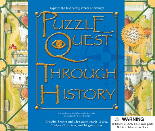 9780769648767: Puzzle Quest Through History [With 2 Dice and 2 Wipe-Off Markers & 16 Game Disks and 8 Write/Wipe Game Boards] (Puzzle Quest Board Game Books)
