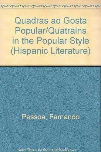 9780773465862: A Critical, Dual-Language Edition of Quadras Ao Gosta Popular/Quatrains in the Popular Style (Hispanic Literature)