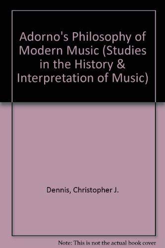 9780773484344: Adorno's Philosophy of Modern Music