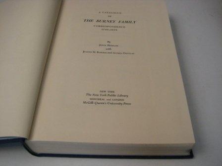 9780773500556: Catalogue of the Burney Family Correspondence, 1749-1878