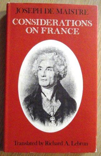 Considerations on France: de Maistre, Joseph
