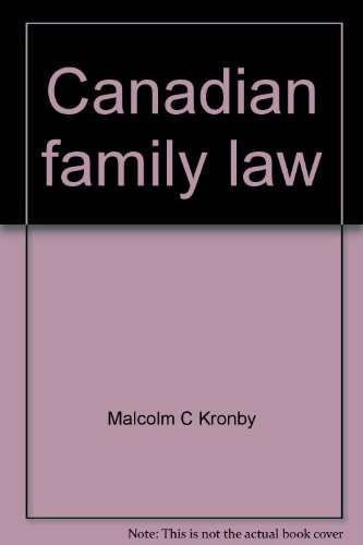 Canadian family law: Kronby, Malcolm C