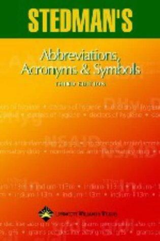 9780781744072: Stedman's Abbrev: Abbreviations, Acronyms & Symbols