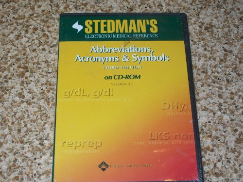9780781760492: Stedman's Abbreviations, Acronyms & Symbols, Third Edition on CD-ROM: Version 2.0 (Stedman's Electronic Medical Reference)