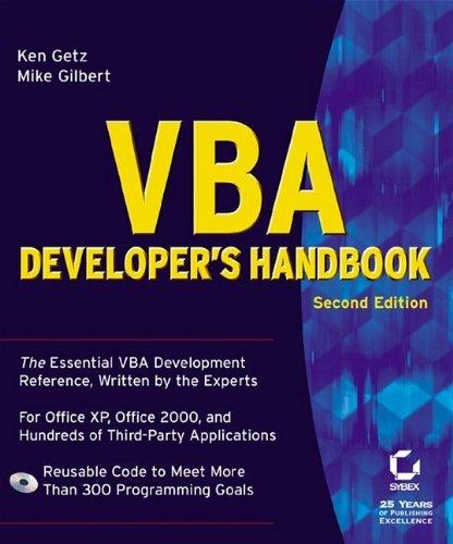 9780782129786: VBA Developer's Handbook