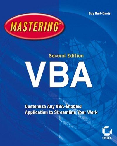 """Mastering Microsoft VBA: Hartâ€""""Davis, Guy"""