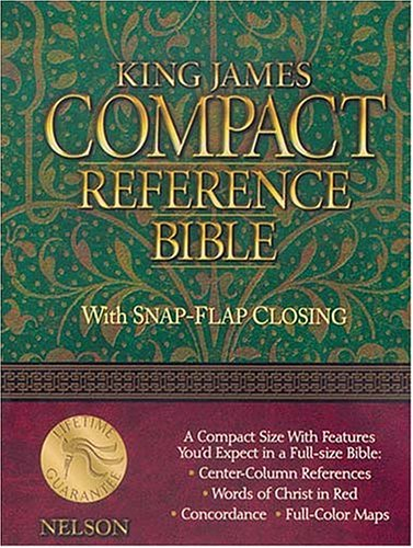 Compact Reference Bible, Snap Flap Edition (KJV, Black Leatherflex): Thomas Nelson
