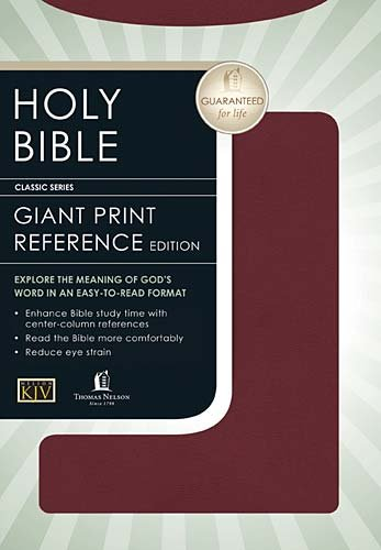 9780785202929: Giant Print Center-Column Reference Bible (KJV, Burgundy Bonded Leather)